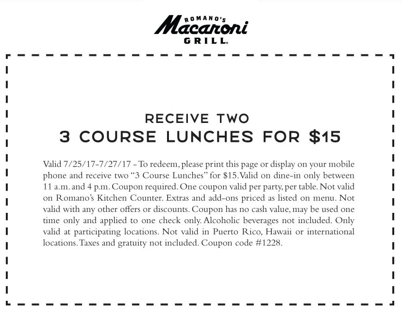 MacaroniGrill.com Promo Coupon Two 3-course lunches = $15 at Macaroni Grill restaurants