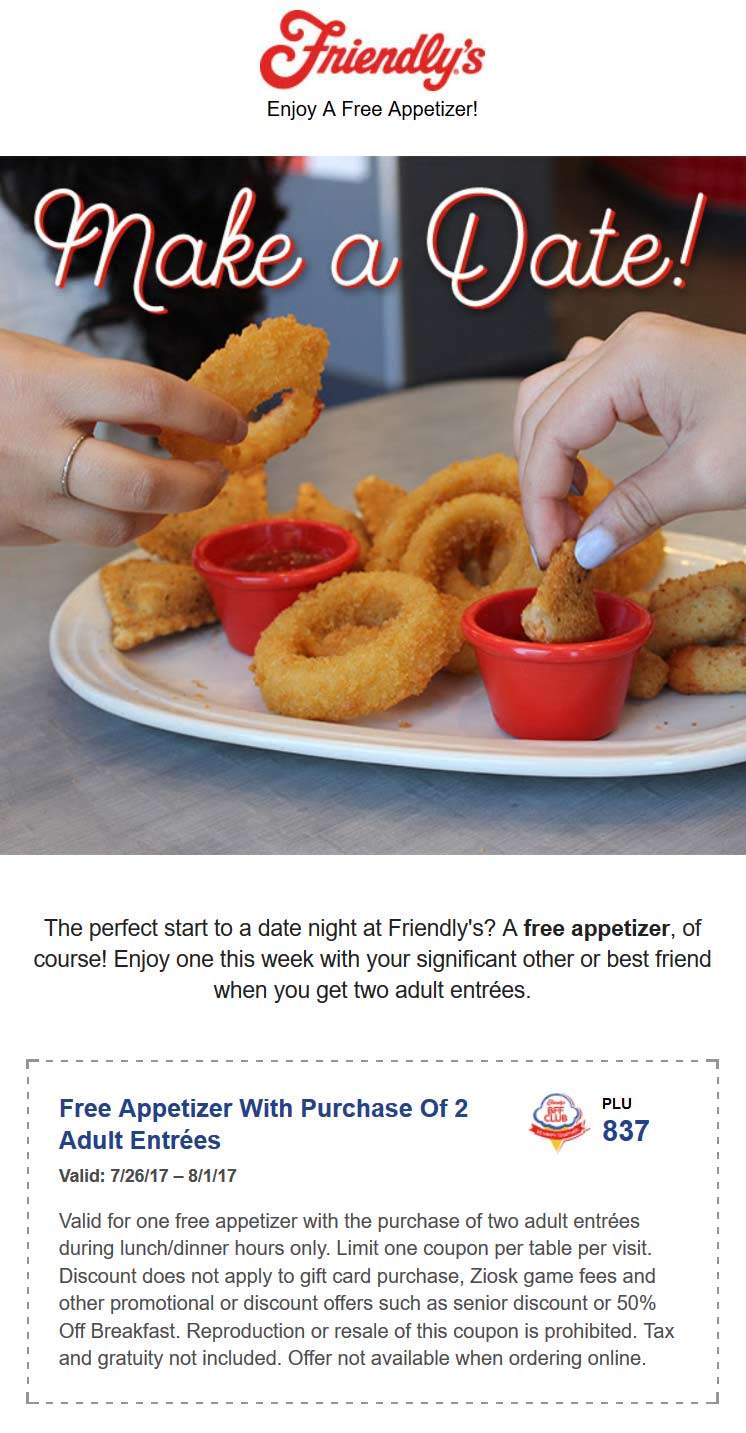 Friendlys Coupon August 2018 Free appetizer with your entrees at Friendlys