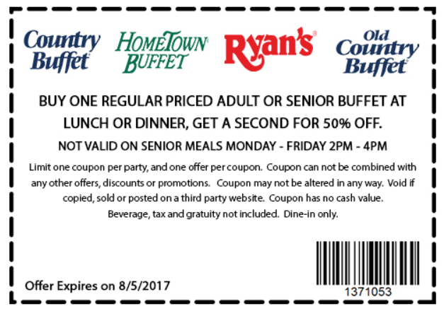 HometownBuffet.com Promo Coupon Second bottomless buffet 50% off at Ryans, HomeTown Buffet & Old Country Buffet