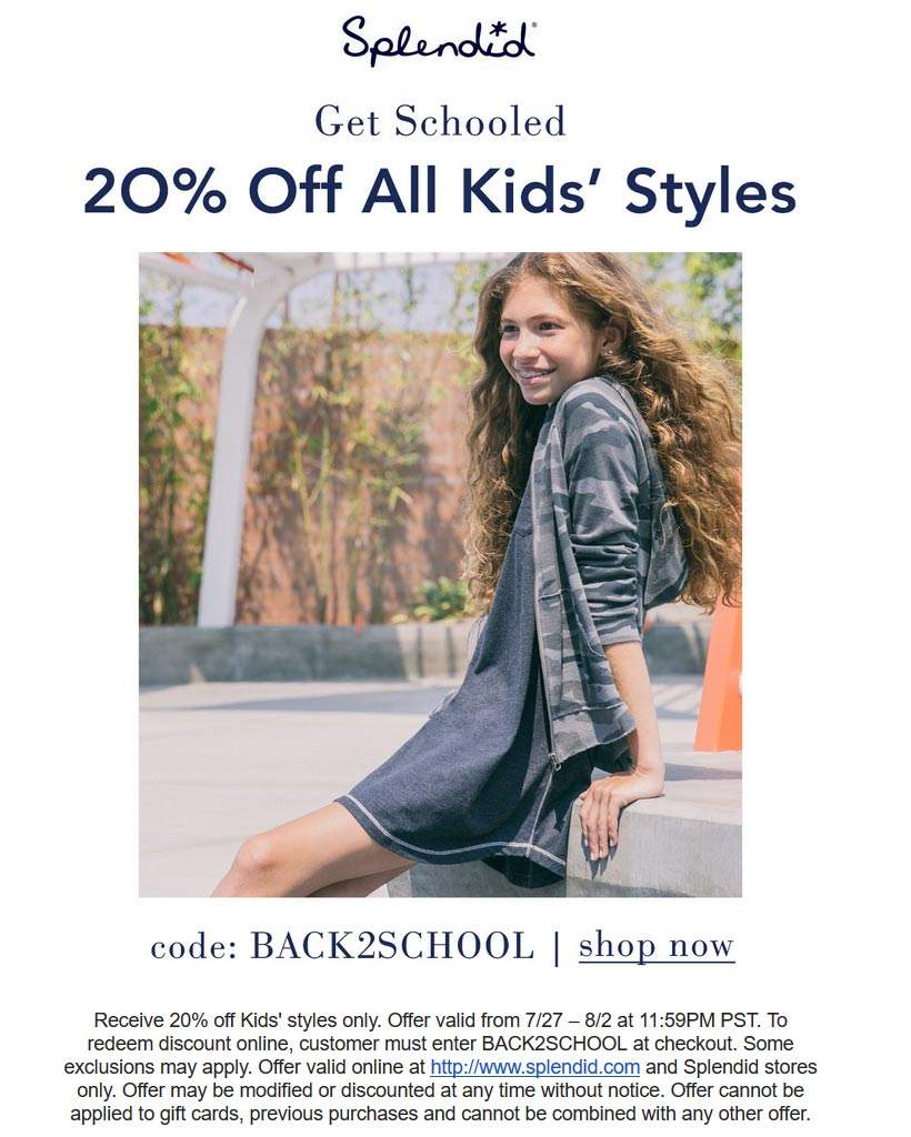 Splendid Coupon March 2019 20% off kids styles online at Splendid via promo code BACK2SCHOOL
