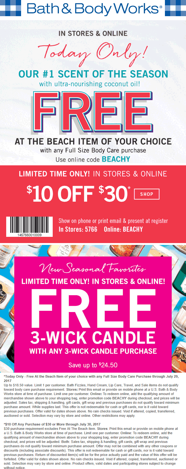 Bath & Body Works Coupon August 2018 $10 off $30 + second $18 item free at Bath & Body Works, or online via promo code BEACHY