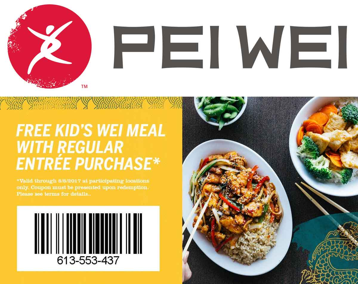 Pei Wei Coupon October 2019 Free kids meal with your entree at Pei Wei