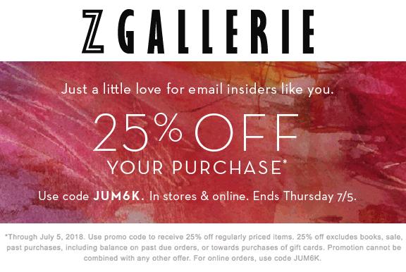 Z Gallerie Coupon December 2018 25% off at Z Gallerie, or online via promo code JUM6k