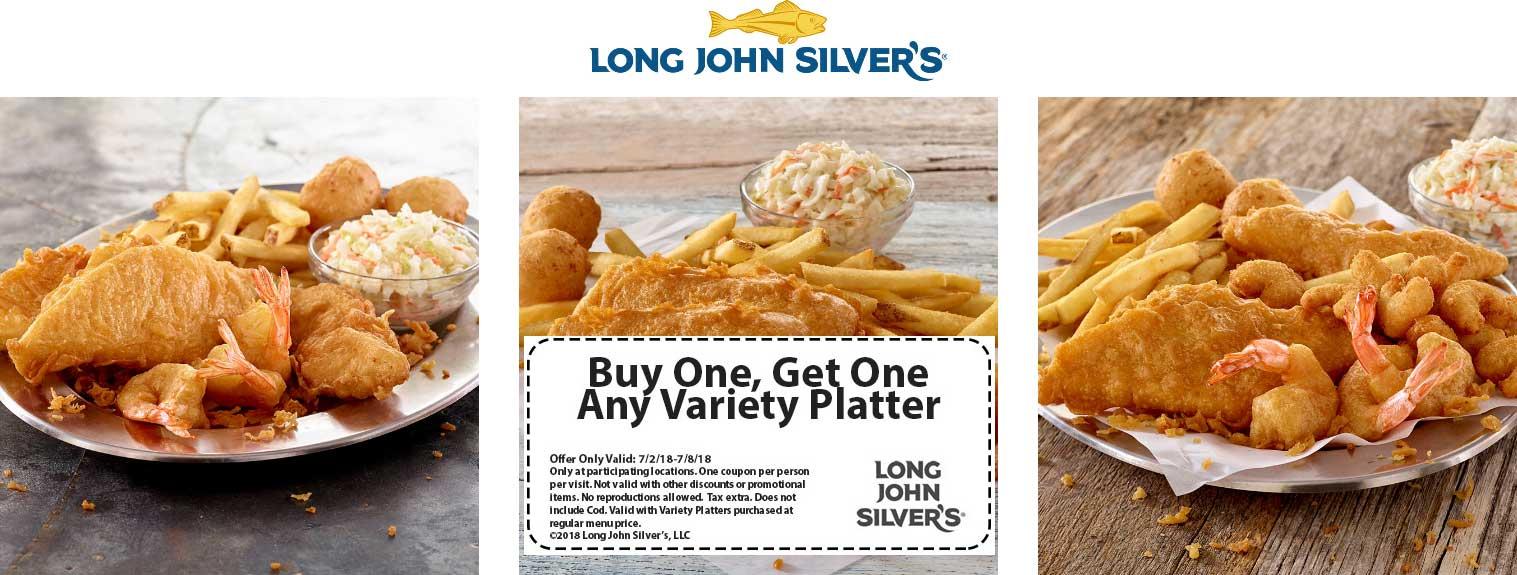Long John Silvers Coupon December 2018 Second variety platter free at Long John Silvers restaurants