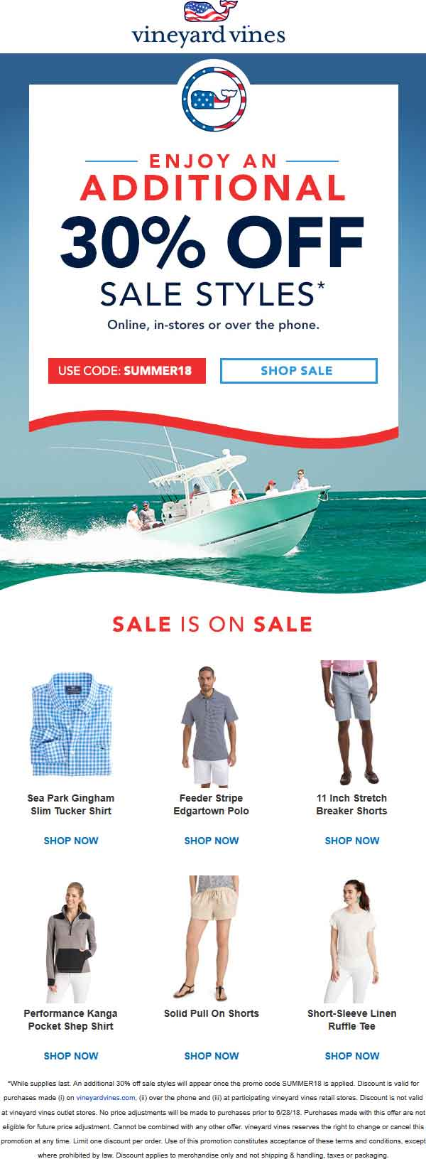 VineyardVines.com Promo Coupon Extra 30% off sale items at Vineyard Vines, or online via promo code SUMMER18