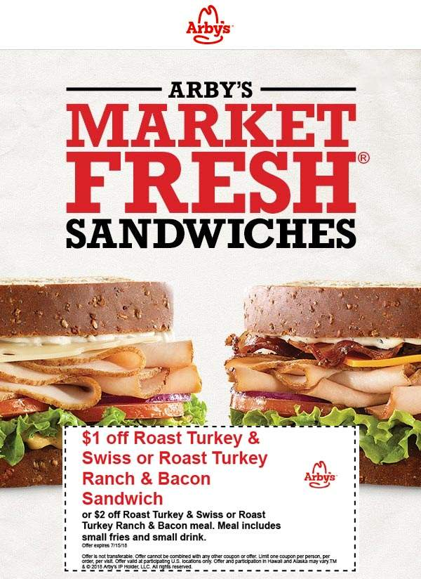 Arbys Coupon October 2018 $1-$2 off fresh sandwiches at Arbys restaurants