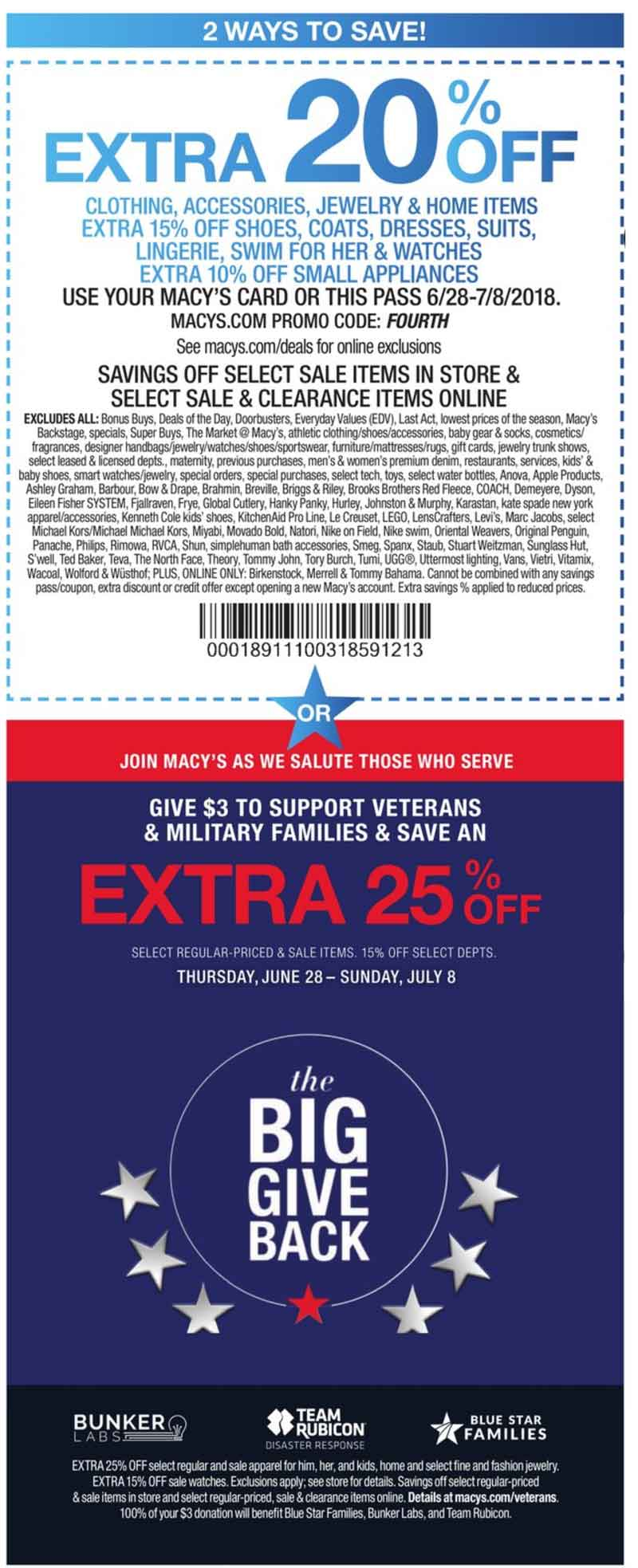 Macys Coupon August 2018 Extra 20% off at Macys, or online via promo code FOURTH