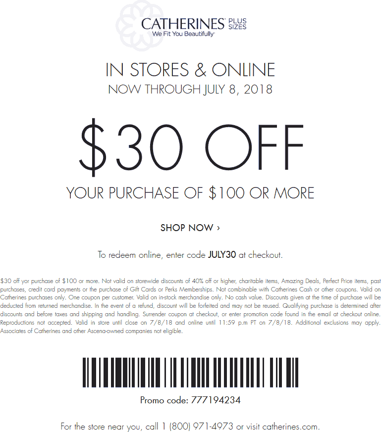 Catherines.com Promo Coupon $30 off $100 at Catherines, or online via promo code JULY30