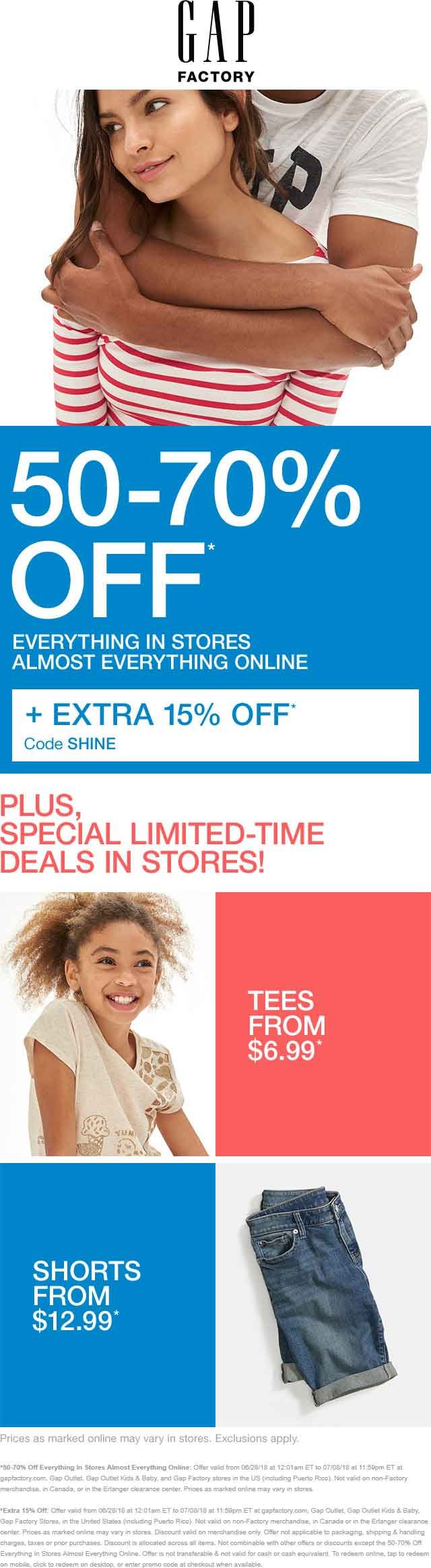 GapFactory.com Promo Coupon 50-85% off at Gap Factory, or online via promo code SHINE