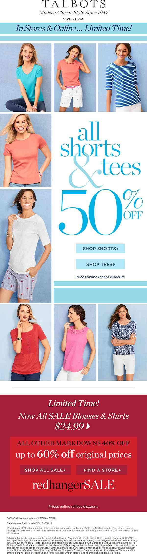 Talbots.com Promo Coupon 50% off tees & shorts at Talbots, ditto online
