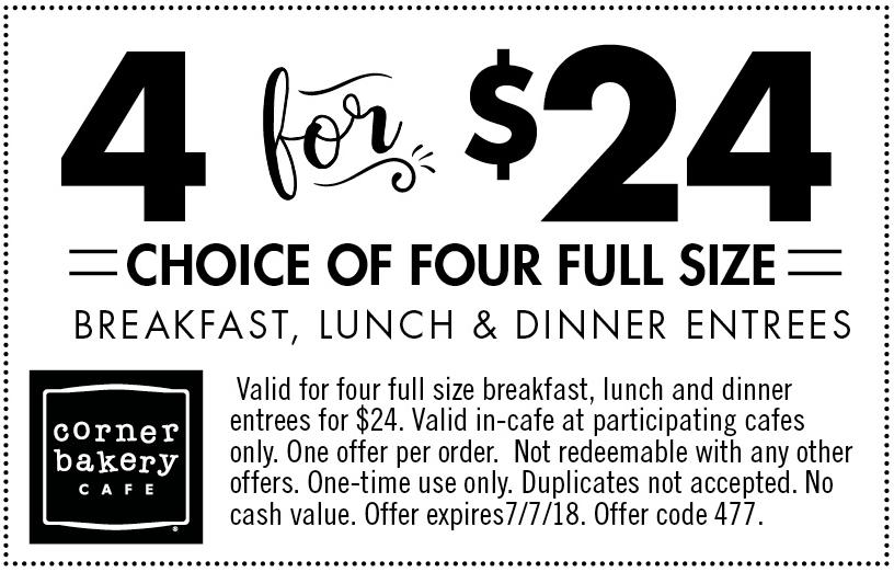 CornerBakeryCafe.com Promo Coupon 4 entrees = $24 at Corner Bakery Cafe