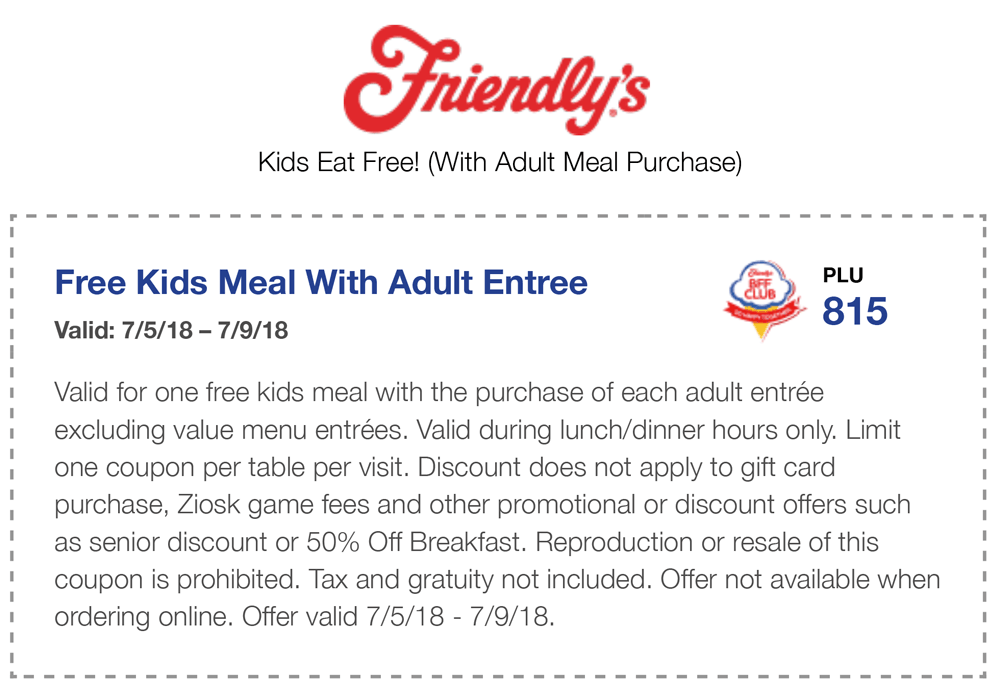 Friendlys.com Promo Coupon Free kids meal with your entree at Friendlys