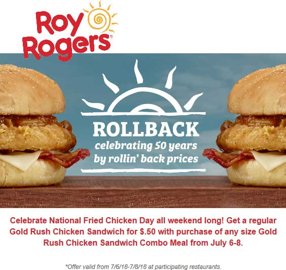 RoyRogers.com Promo Coupon Second chicken sandwich .50 cents at Roy Rogers restaurants