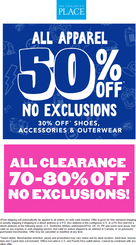 ChildrensPlace.com Promo Coupon 50% off apparel online at The Childrens Place, no code needed