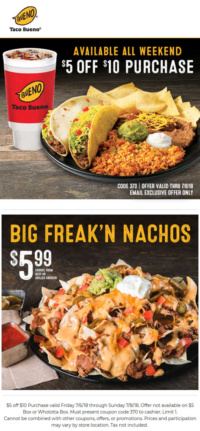TacoBueno.com Promo Coupon $5 off $10 at Taco Bueno restaurants