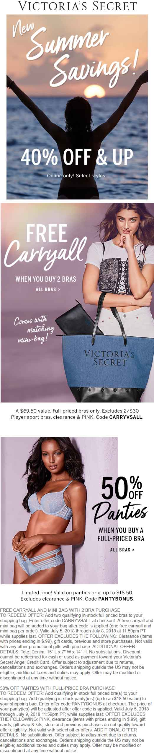 Victorias Secret Coupon December 2018 Free $70 carryall with your bras at Victorias Secret, or online via promo code CARRYVSALL