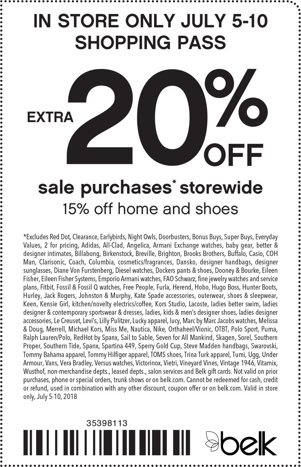 Belk Coupon March 2019 Extra 20% off sale items at Belk