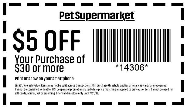Pet Supermarket Coupon November 2019 $5 off $30 at Pet Supermarket