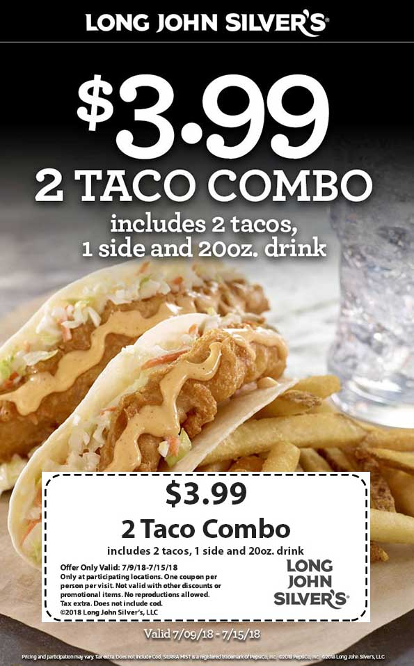 Long John Silvers Coupon December 2018 2 tacos + side + drink = $4 at Long John Silvers
