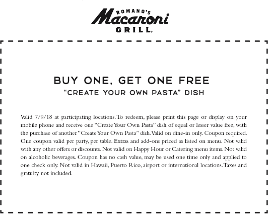 Macaroni Grill Coupon December 2018 Second pasta dish free today at Macaroni Grill