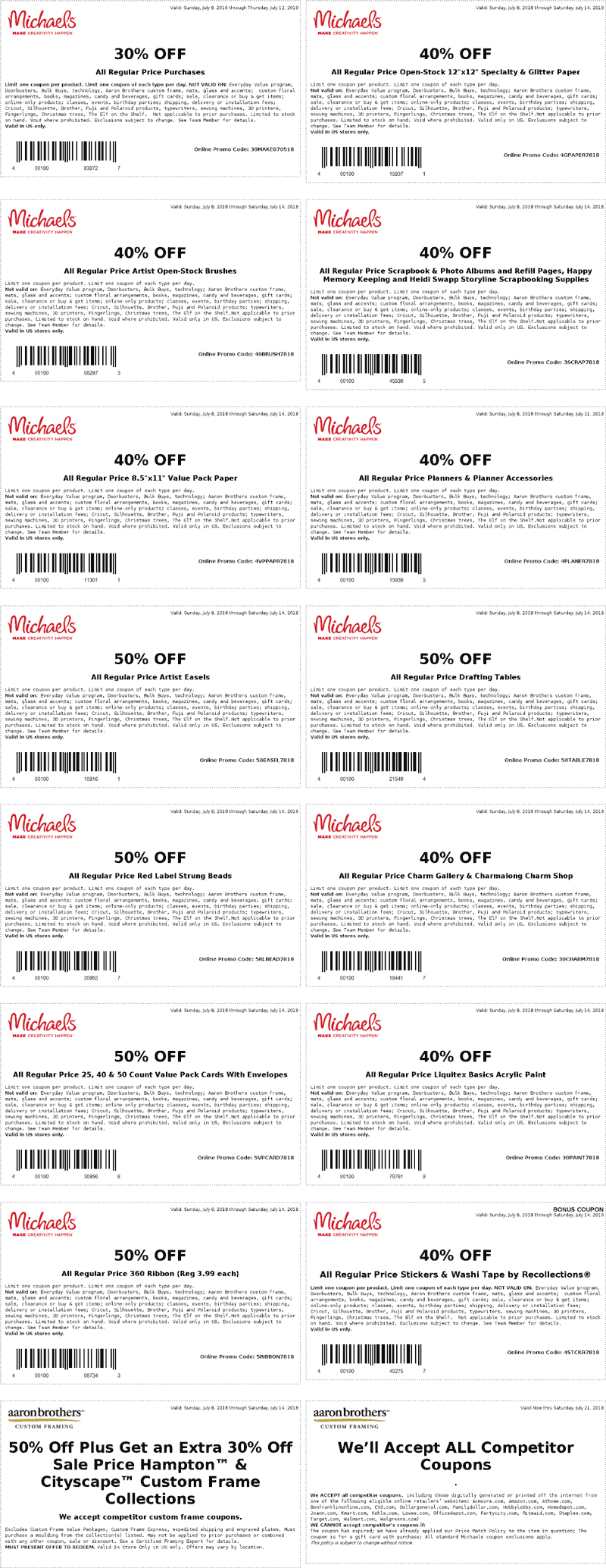 Michaels.com Promo Coupon 30% off & more at Michaels, or online via promo code 30MAKE070518