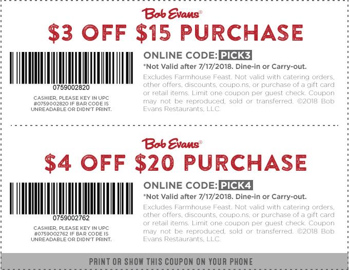 Bob Evans Coupon April 2019 $3 off $15 & more at Bob Evans restaurants
