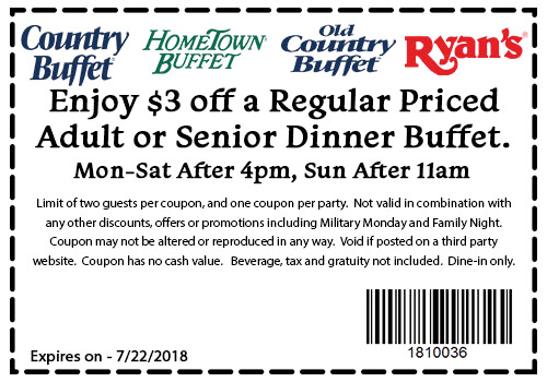 Hometown Buffet Coupon September 2018 $3 off your buffet at Ryans, HomeTown Buffet & Old Country Buffet restaurants