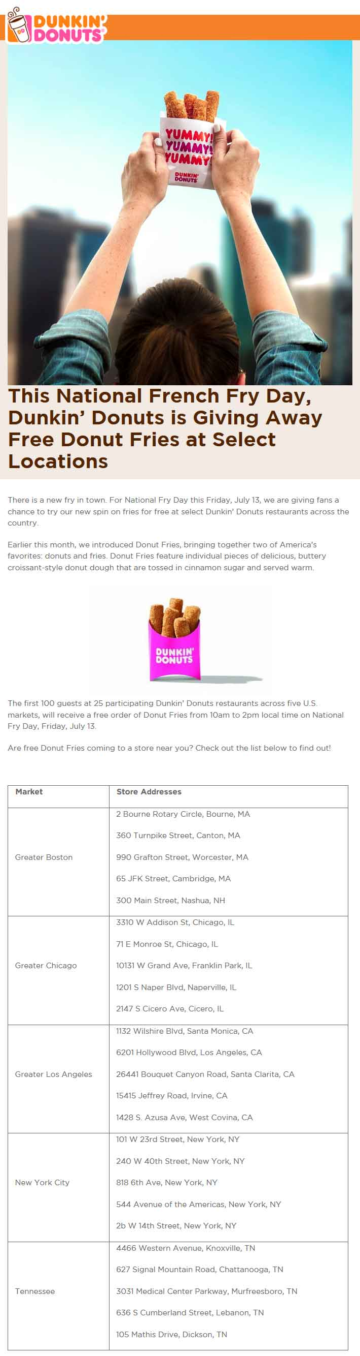 Dunkin Donuts Coupon September 2018 Free donut fries Friday at various Dunkin Donuts locations
