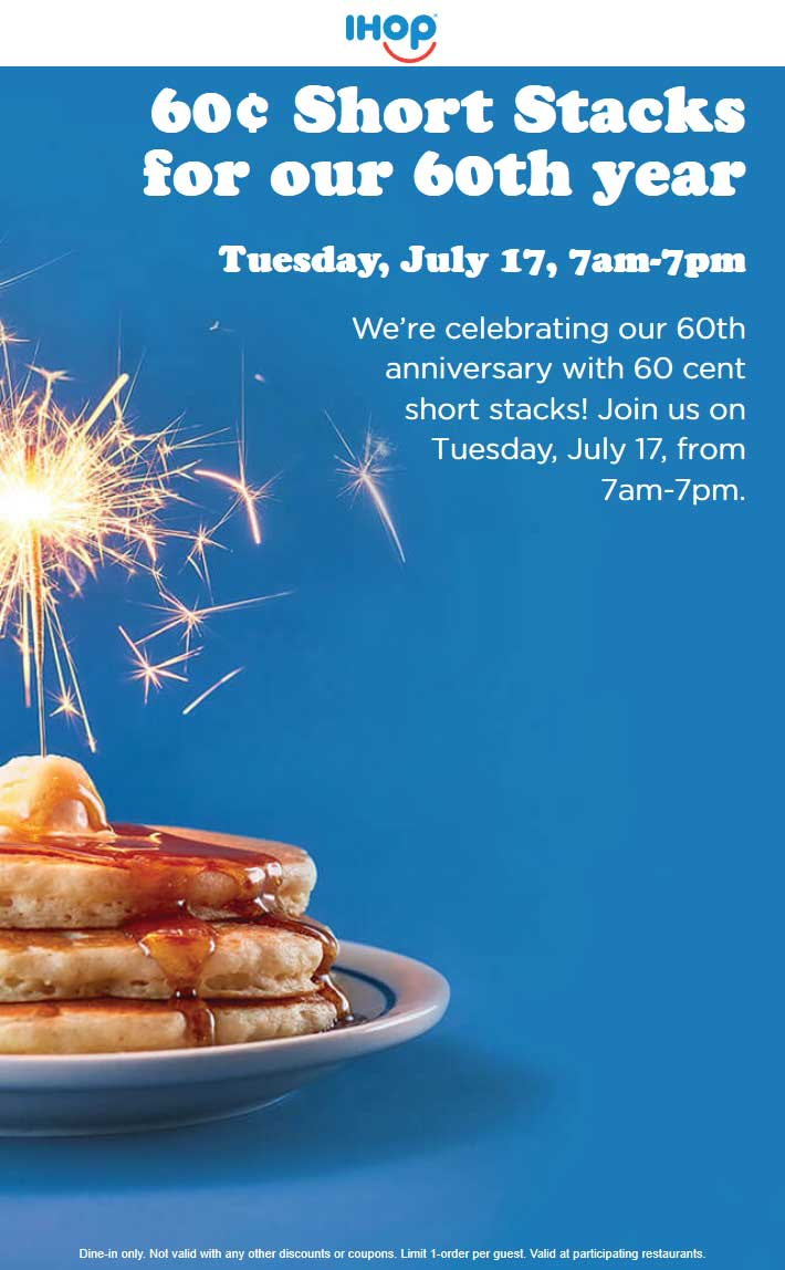 IHOP.com Promo Coupon .60 cent pancakes Tuesday at IHOP restaurants