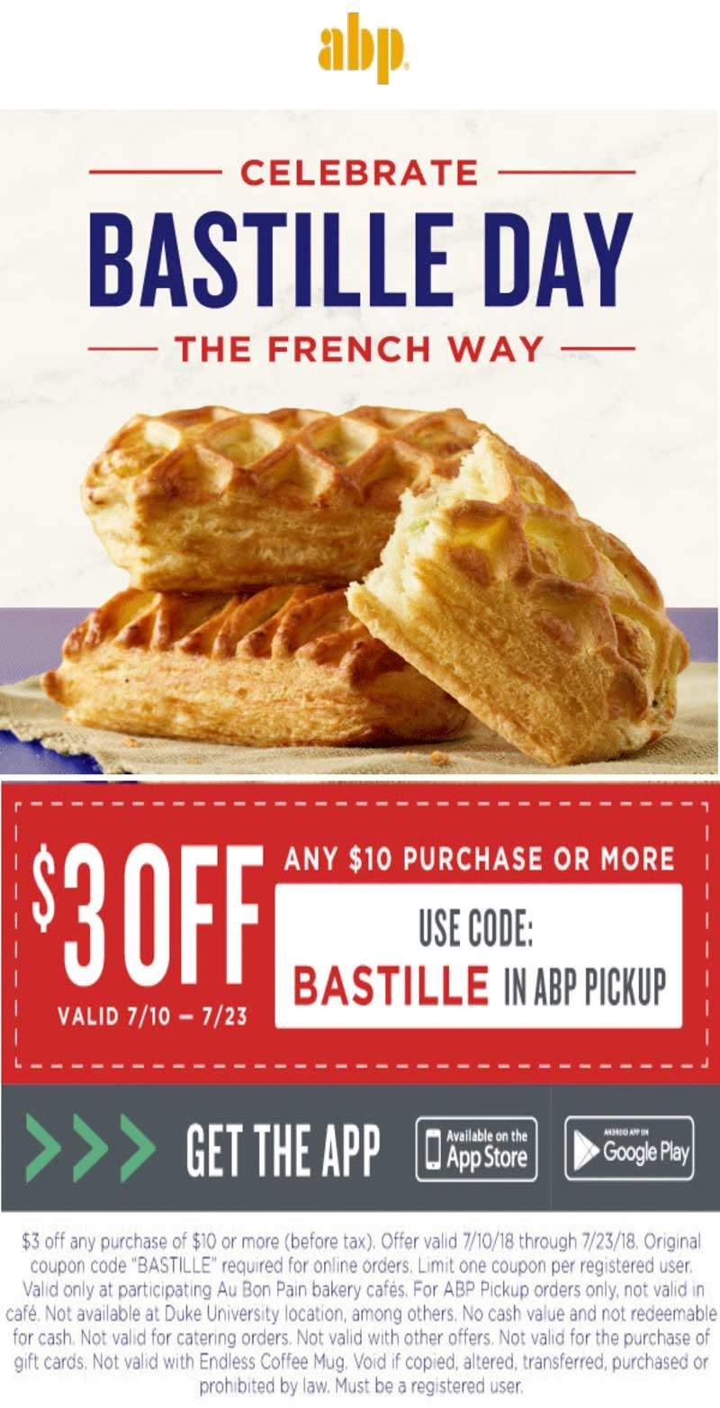 AuBonPain.com Promo Coupon $3 off $10 at Au Bon Pain restaurants via promo code BASTILLE