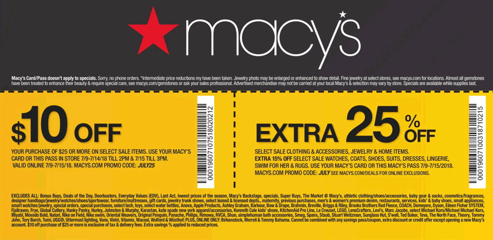 Macys Coupon July 2018 $10 off $25 & more at Macys, or online via promo code JULY25