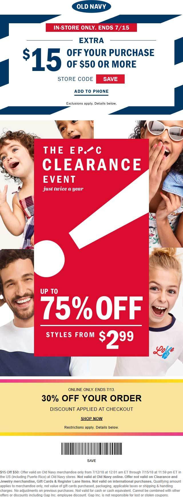 Old Navy Coupon August 2018 $15 off $50 at Old Navy