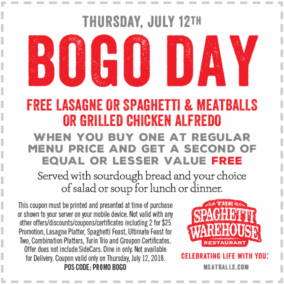 Spaghetti Warehouse Coupon March 2019 Second entree free today at Spaghetti Warehouse
