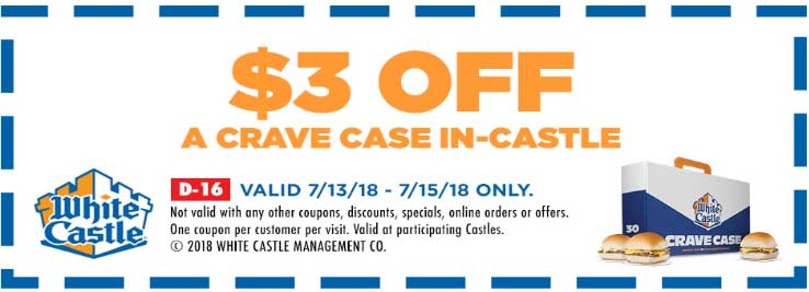 WhiteCastle.com Promo Coupon $3 off a crave case of burgers at White Castle, or $4 online via promo code EMAIL