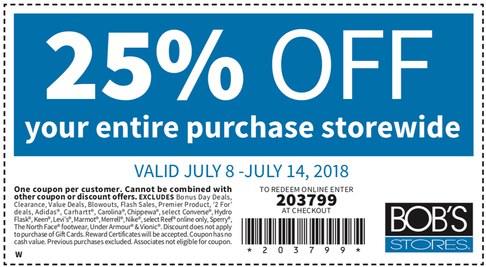Bobs Stores Coupon December 2018 25% off at Bobs Stores, or online via promo code 203799