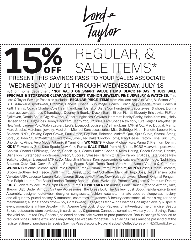 Lord&Taylor.com Promo Coupon 15% off at Lord & Taylor, or online via promo code FRIDAY