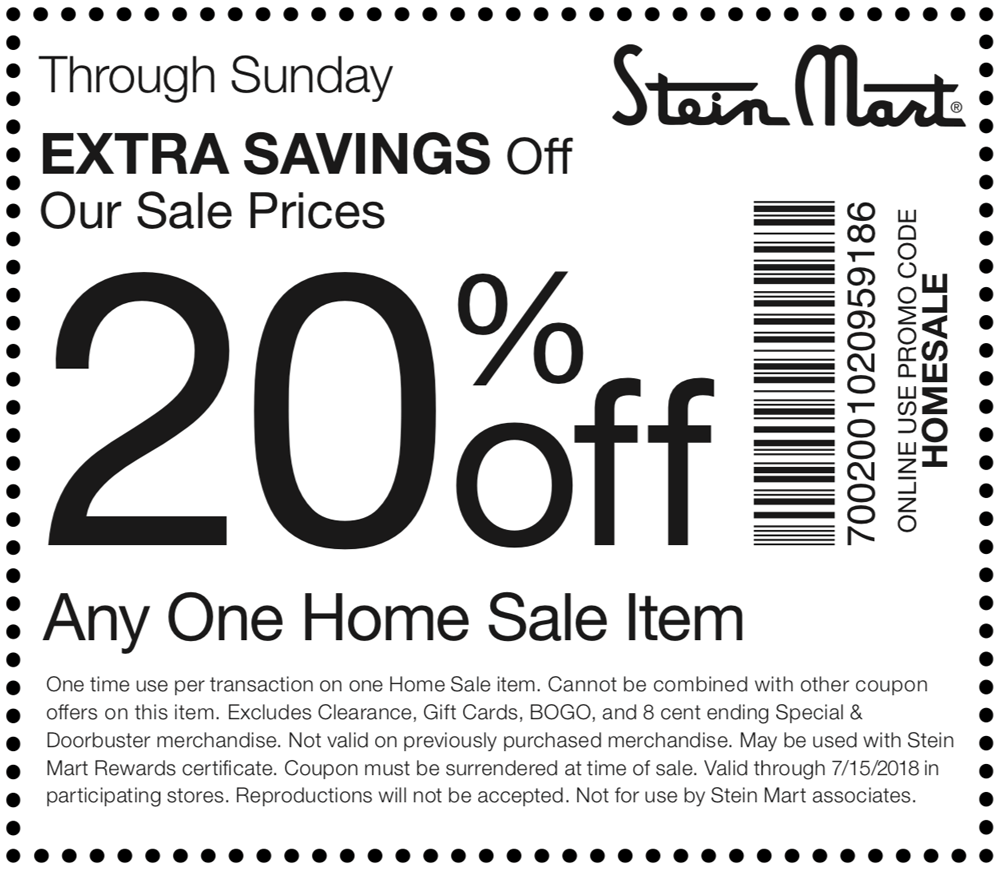 SteinMart.com Promo Coupon 20% off a single home sale item at Stein Mart, or online via promo code HOMESALE