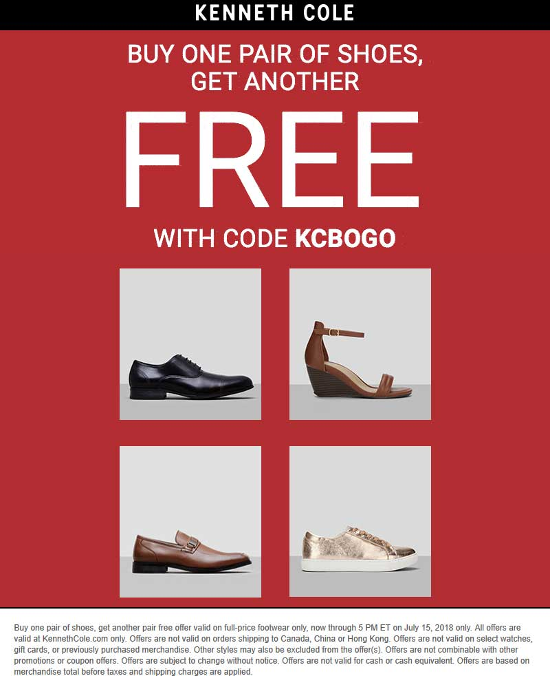 Kenneth Cole Coupon October 2018 Second pair shoes free online at Kenneth Cole via promo code KCBOGO