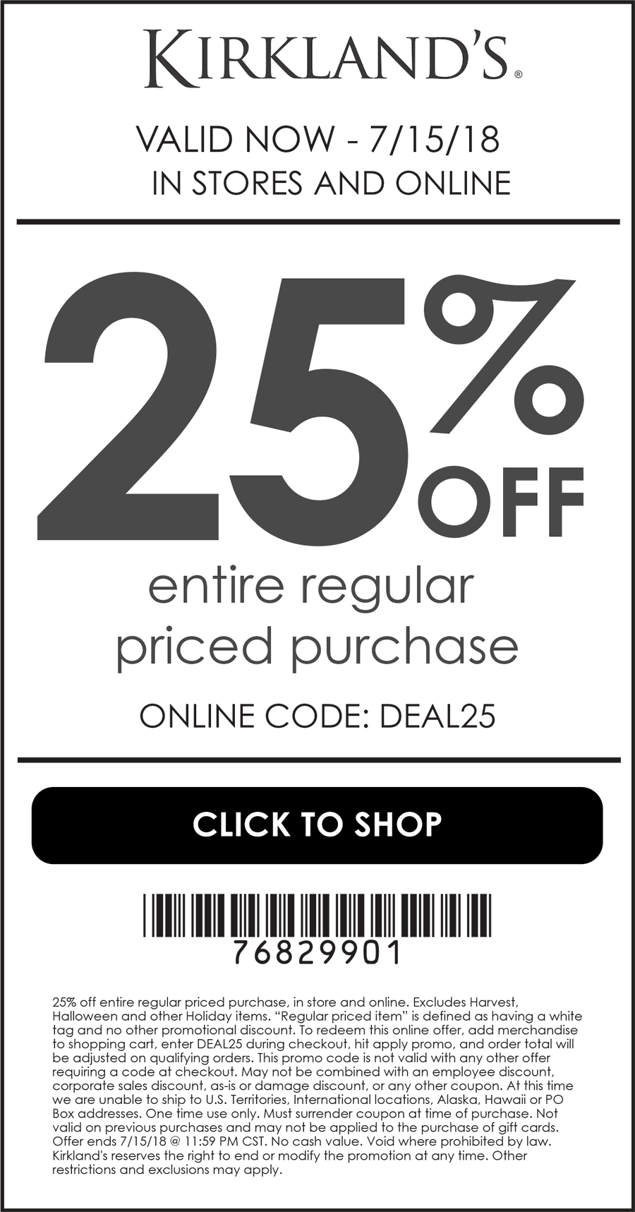 Kirklands.com Promo Coupon 25% off at Kirklands, or online via promo code DEAL25