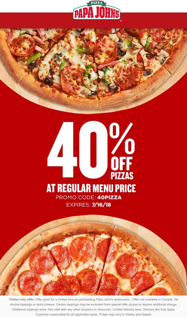 picture regarding Papa Johns Printable Coupons identified as Papa Johns Discount coupons - 40% off pizzas at Papa Johns by promo