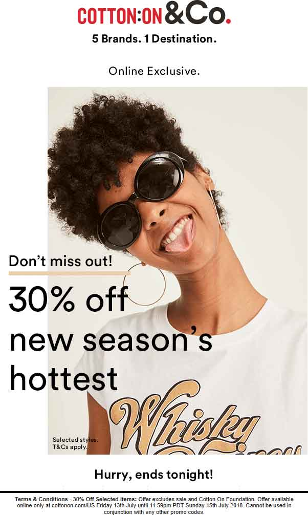 Cotton On Coupon November 2018 30% off online today at Cotton On
