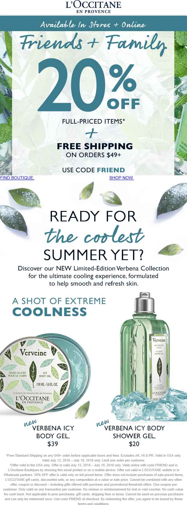LOccitane Coupon December 2018 20% off at LOccitane, or online via promo code FRIEND