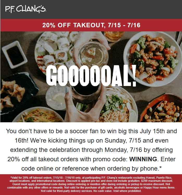 P.F. Changs Coupon July 2019 20% off takeout at P.F. Changs restaurant via promo code WINNING