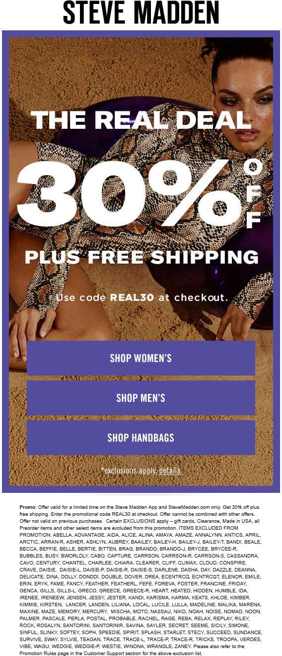 SteveMadden.com Promo Coupon 30% off online at Steve Madden via promo code REAL30