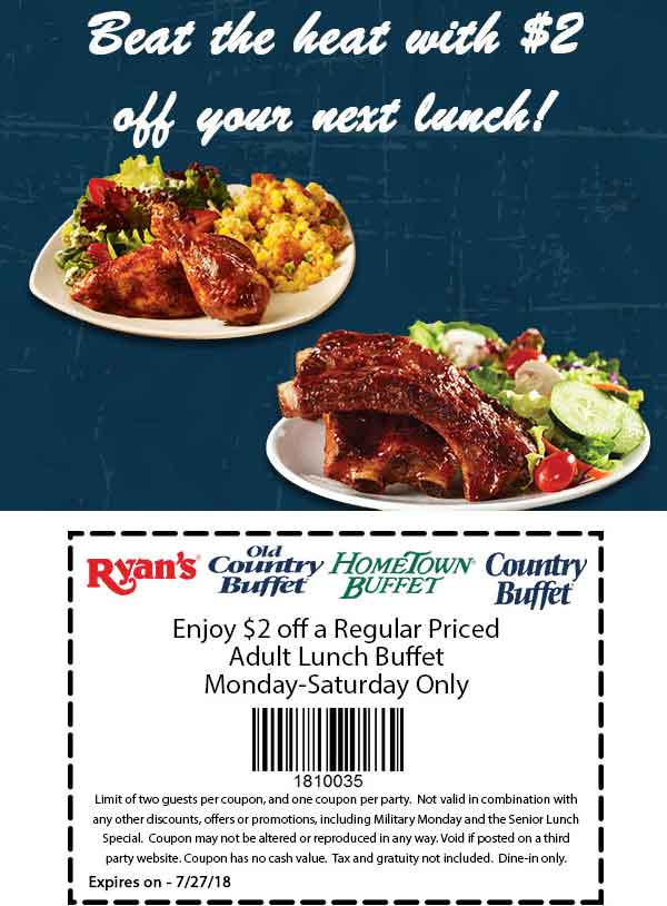 HometownBuffet.com Promo Coupon $2 off lunch at Ryans, HomeTown Buffet & Old Country Buffet