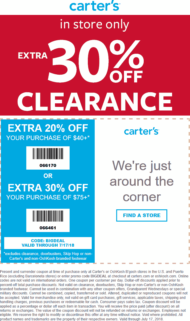Carters Coupon January 2020 20% off $40 & more at Carters, or online via promo code BIGDEAL