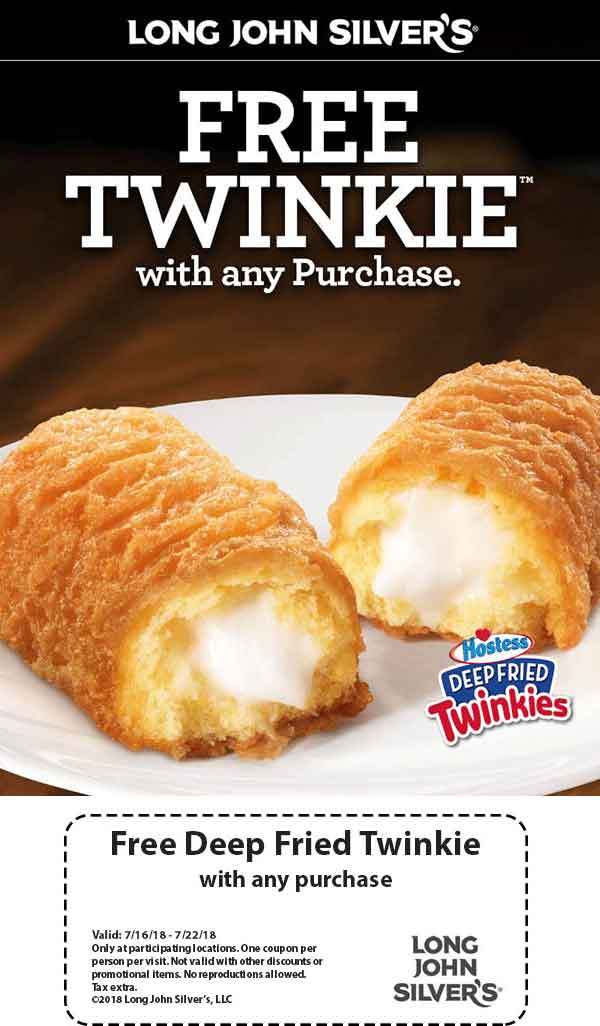 LongJohnSilvers.com Promo Coupon Free twinkie with your order at Long John Silvers restaurants