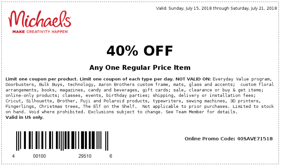 Michaels.com Promo Coupon 40% off a single item at Michaels, or online via promo code 40SAVE71518