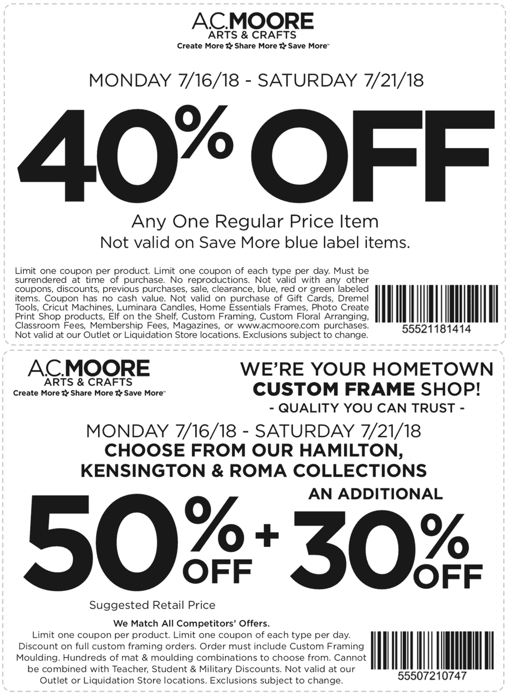 A.C.Moore.com Promo Coupon 40% off a single item at A.C. Moore