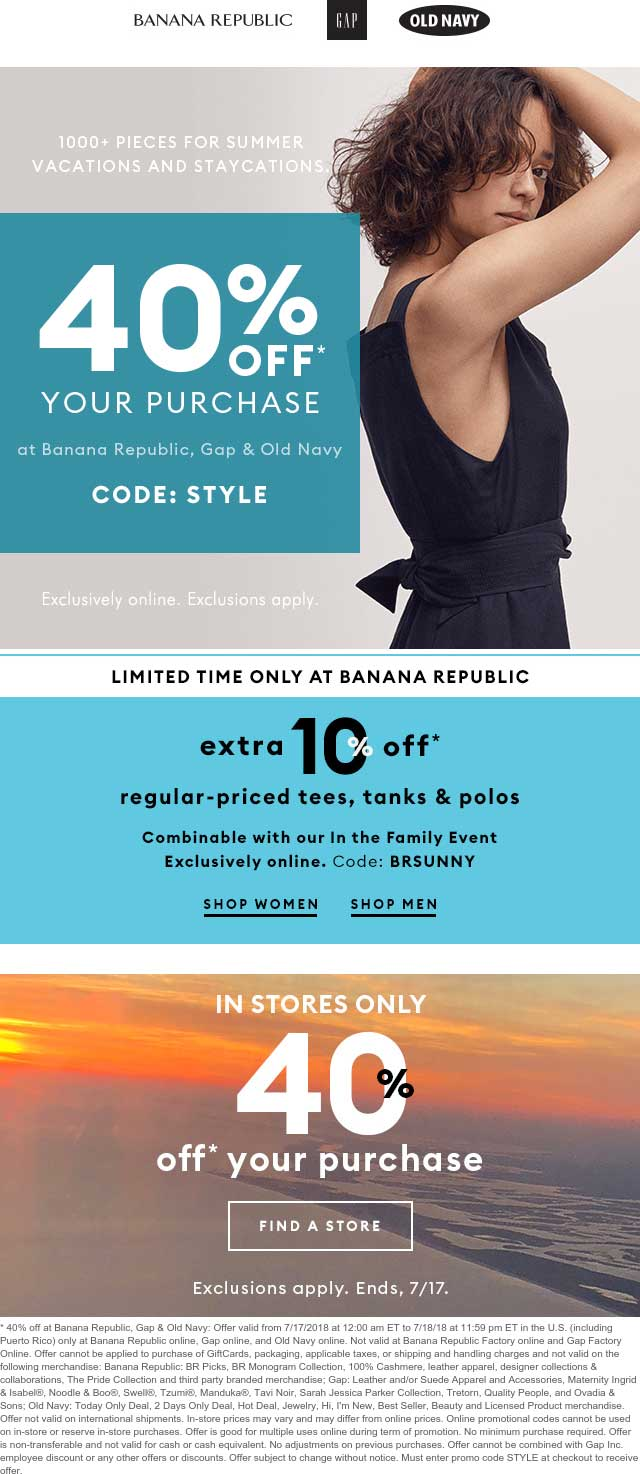 Banana Republic Coupon December 2018 40% off today at Gap, Old Navy & Banana Republic, or online via promo code STYLE